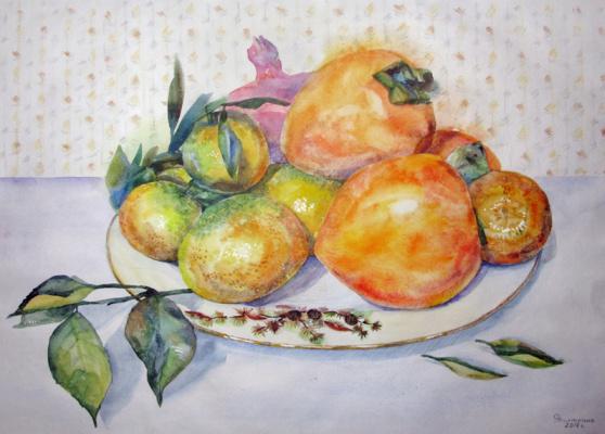 Olesya Rapotkin. Mandarins, persimmon