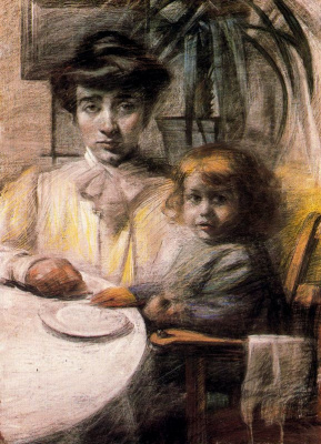 Умберто Боччони. Мать с ребенком за столом