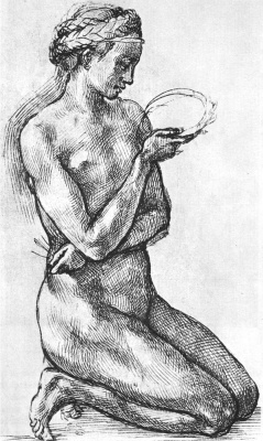 Микеланджело Буонарроти. Обнаженная женщина на коленях