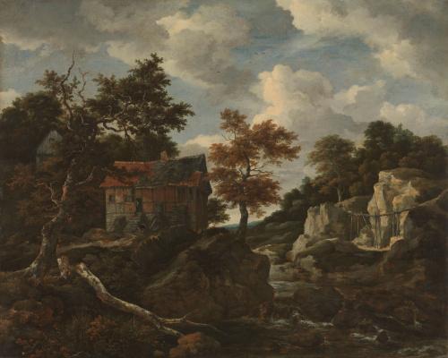 Jakob van Isaacs Ruisdael. Mountain landscape with a peasant house