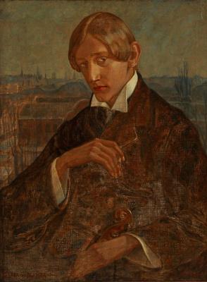 Gerda Wegener. The musician Smoking a cigarette in the background of Copenhagen.