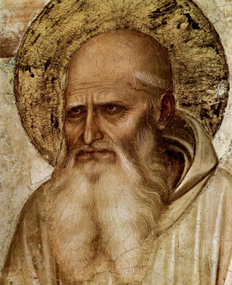 "Fra Beato Angelico. Saint Romuald. Fragment of the fresco ""The Crucifixion and Saints"" Hall of the Chapter of the Monastery of San Marco, Florence"