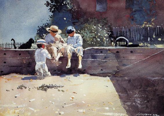 Winslow Homer. Boys and kitten