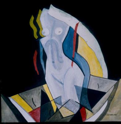 """Виктор Михайлович Шмохин. Из триптиха """"Ночь"""". Ночь была полна любви (левая часть)."""