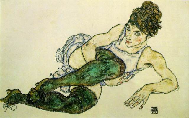Egon Schiele. Reclining woman in green stockings