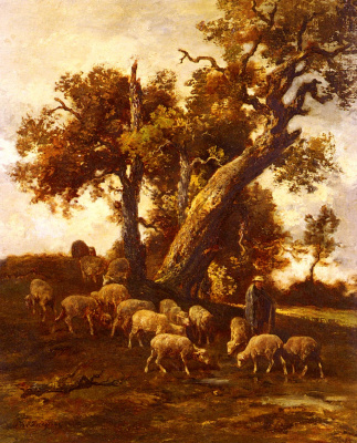Charles Emile Jacques. The sheep in the pasture