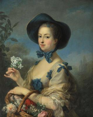 Charles Andre van Loo. Madame de Pompadour in the beautiful garden