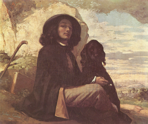 Gustave Courbet. Self Portrait with a Black Dog