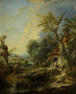 Francois Boucher. Landscape with a hermit. Brother Luce