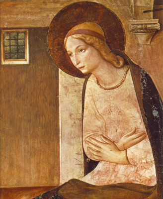 "Fra Beato Angelico. Maria. Fragment of the fresco ""The Annunciation"" of the monastery of San Marco, Florence"