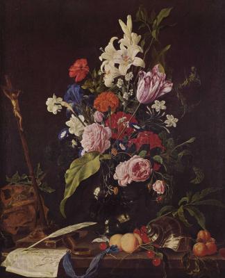 Ян Давидс де Хем. Цветы в стеклянной вазе, распятие и череп