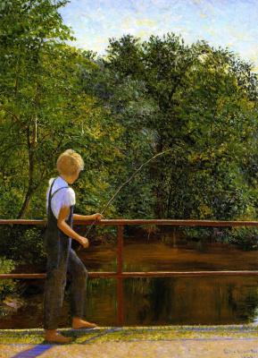 Lila Cabot Perry. Boy fishing