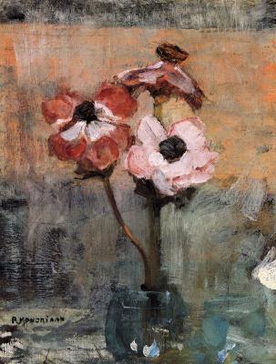 Piet Mondrian. Anemones in a vase