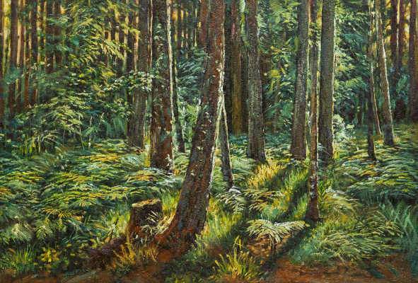 """Savely Kamsky. A copy of Ivan Shishkin's painting """"Ferns in the Forest"""""""
