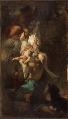 Jean-François Millet. Baby Oedipus removed from the tree
