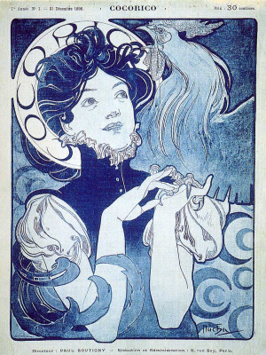Alfons Mucha. Cock. Cover of the French artistic and literary magazine. Issue No. 1, December 1898