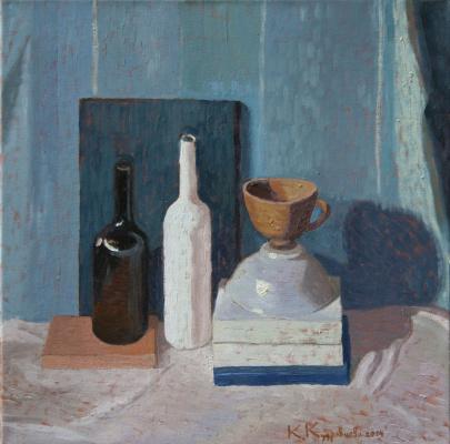 Ekaterina Anatolyevna Kudryavtseva. Still life with a bottle of Portuguese 70x70 oil on canvas, 2014