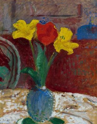 Куно Амье. Натюрморт с тремя тюльпанами в вазе