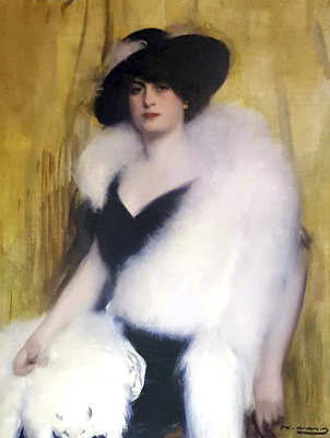 Ramon Casas i Carbó. Woman in a white boa