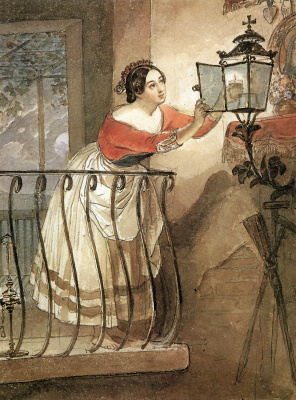 Karl Pavlovich Bryullov. Italian, lit a lamp before the image of Madonna