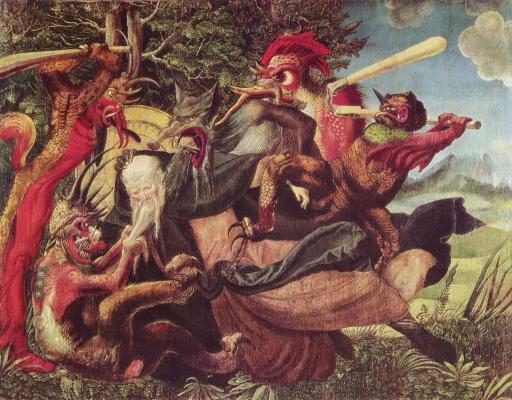 Никлаус Мануэль Дойтш. Алтарь св. Антония, левая створка снаружи: Демоны искушают св. Антония