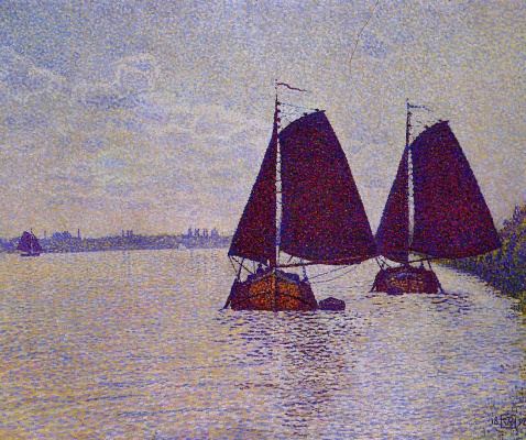 Theo van Rysselberghe. Barges on the river Scheldt