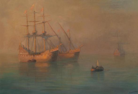 Ivan Aivazovsky. The arrival of a flotilla of Columbus