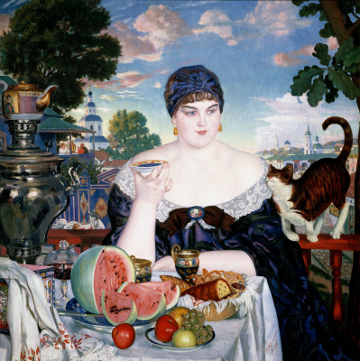 Boris Mikhailovich Kustodiev. Merchant's wife at tea