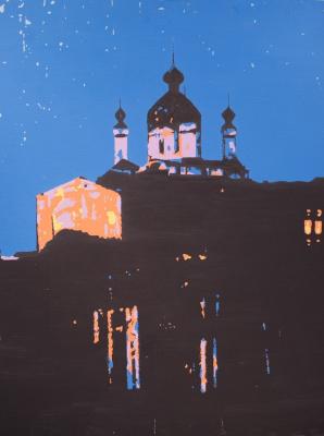 Паша Туремский. Андреевская церковь. ДВП, акрил. 70Х90 см. 2012 г.