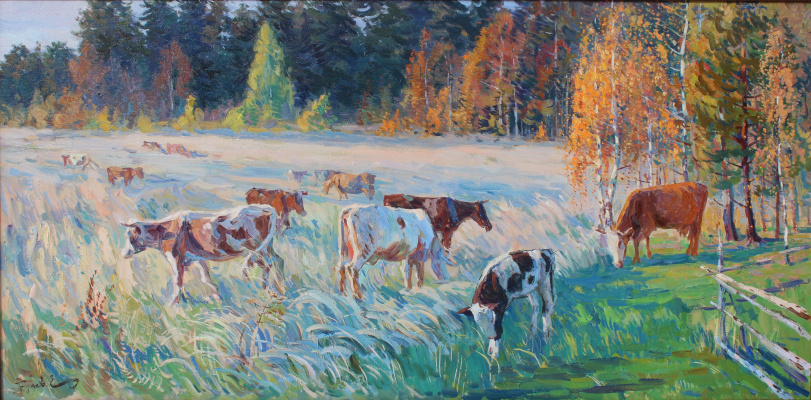 Eugene Butch. Autumn evening.the herd