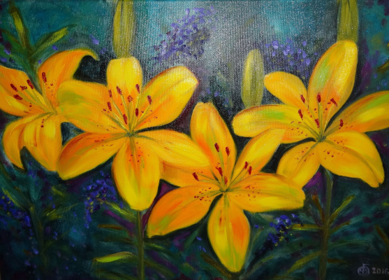 Victoria Fedorovna Humanenko. Lilies the color of the sun