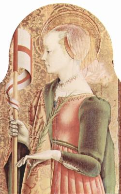 Карло Кривелли. Святая Урсула. Центральный алтарь кафедрального собора в Асколи, полиптих, внешнее правое навершие