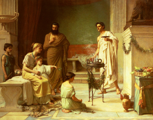 John William Waterhouse. A sick child in the temple of Asclepius