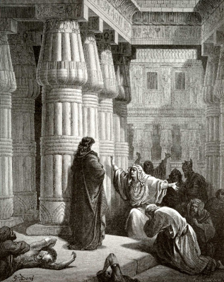Paul Gustave Dore. Illustration to the Bible: Pharaoh asks Moses to leave Egypt