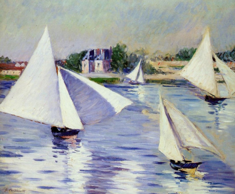 Gustave Caillebotte. Sailing boats on the Seine at Argenteuil