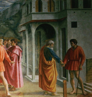 Tommaso Masaccio. Miracle with a statir (Payment of taxes). Fragment