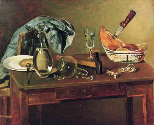 Balthus (Balthasar Klossovsky de Rola). Still life with a knife and a broken decanter