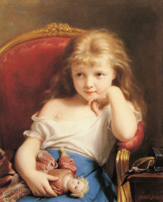 Fritz Zuber-Buhler. Little girl with doll