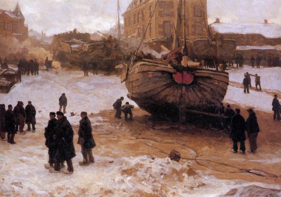 Виллем Толен. Корабли на пляже Схевенинген