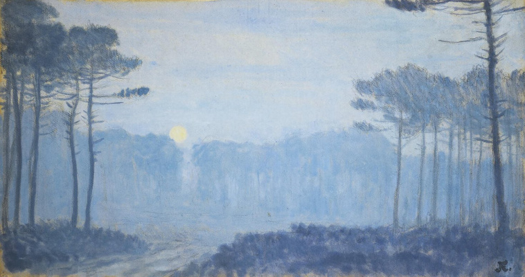 Jean Francis Ouurten. Landscape with pines at a moonlit night