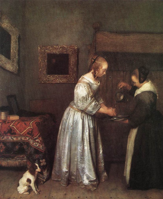 Gerard Terborch (ter Borch). Woman washes her hands