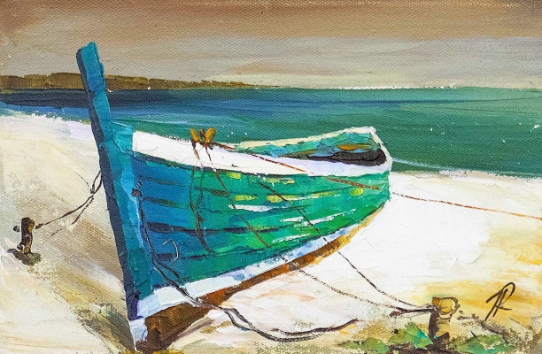 Jose Rodriguez. Boat on the sandy shore