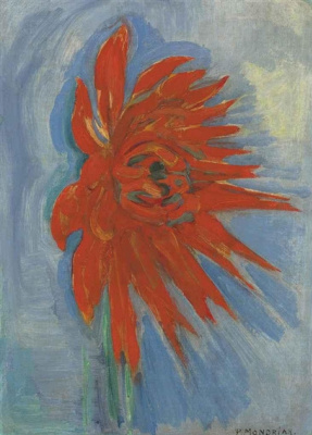 Pete Mondrian. Red chrysanthemum on blue background