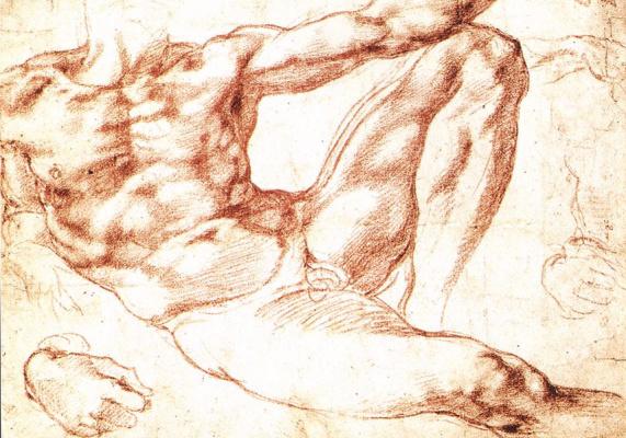 "Michelangelo Buonarroti. Sketch for the fresco ""Creation of Adam"""