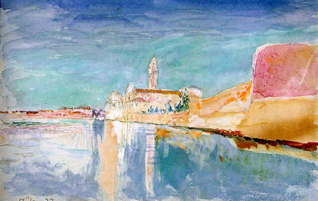 John Ruskin. View of the church in Venice