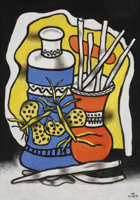 Fernand Leger. Still life with butterflies on a blue vase