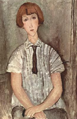 Amedeo Modigliani. The girl in the striped shirt