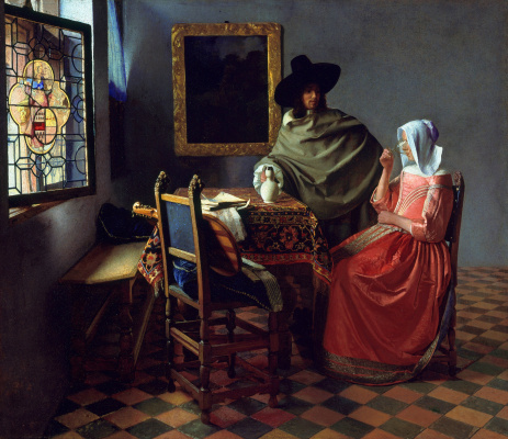 Jan Vermeer. A glass of wine