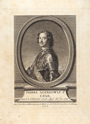 The original by NATTIER JEAN-MARC (1685-1766). Portrait of Emperor Peter I. the middle of the XVIII