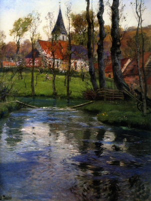 Frits Thaulow. The old Church by the river